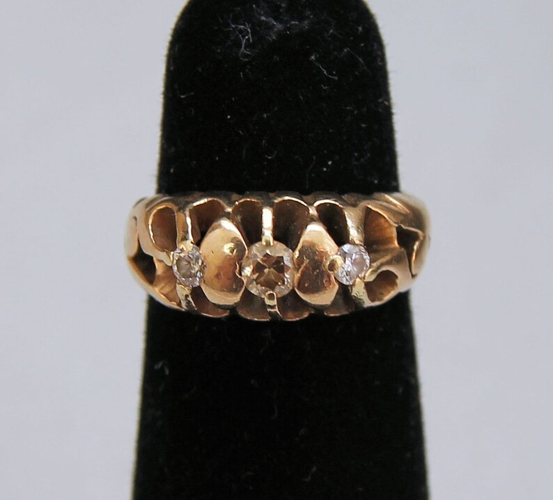 Estate 14K Yellow Gold Yellow and White Diamond Dome Ring 4 Grams .25 Carat Total Weight Size 1.75 Wedding