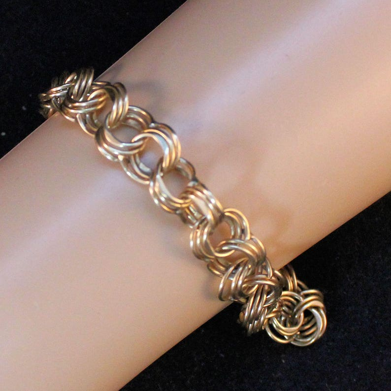 ea54841987f3 14K Solid Yellow Gold Charm Bracelet Triple Link Over 8 Inches