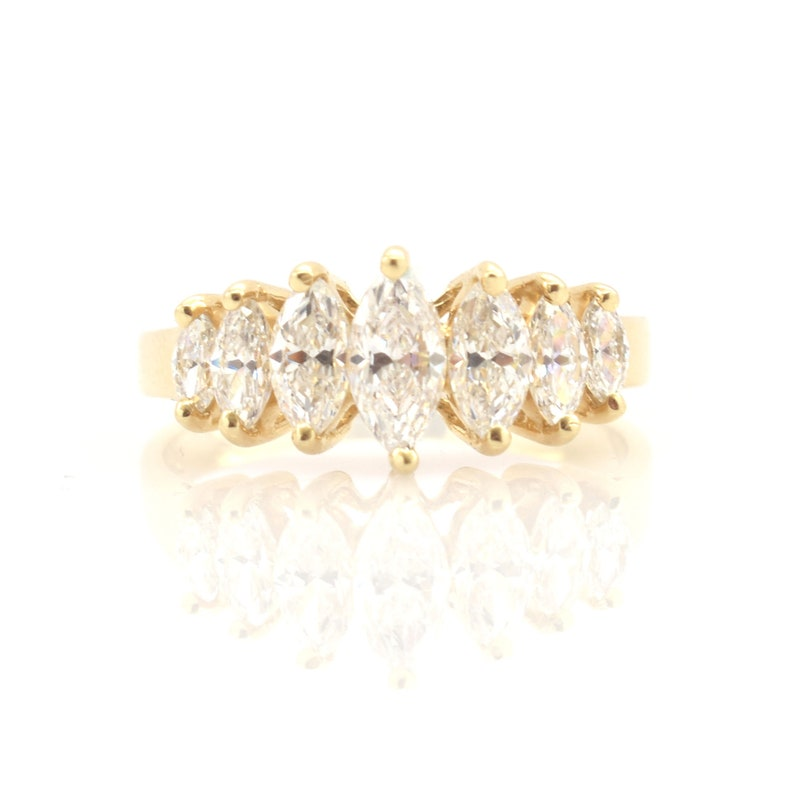 743944a1f03e Estate 14K Solid Yellow Gold Ring Vintage Marquise Cut Cubic