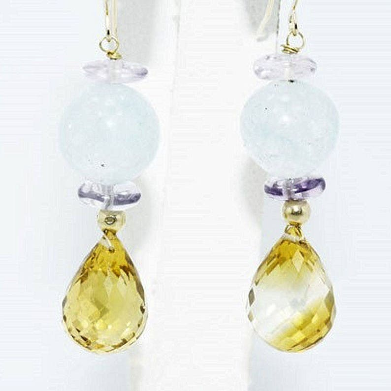 Estate 14K Yellow Gold Aquamarine Citrine Amethyst Drop Dangle Earrings 28 Carats Total Weight CTW 5.94 Grams Wedding