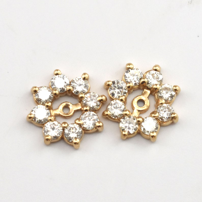 Estate Diamond Earring Jackets Vintage 14K Solid Yellow Gold Natural Diamonds Enhancers Nearly 2 Carats Total Weight Wedding