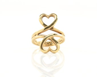 Estate Gold Ring Vintage 14K Solid Yellow Gold Double Heart Ring Size 4.5 Signed SKAL Wedding Gift