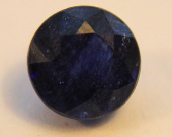 Natural 1.45 Carat Round Cut Dark Blue Sapphire Loose Gemstone September Birthstone Wedding Gift