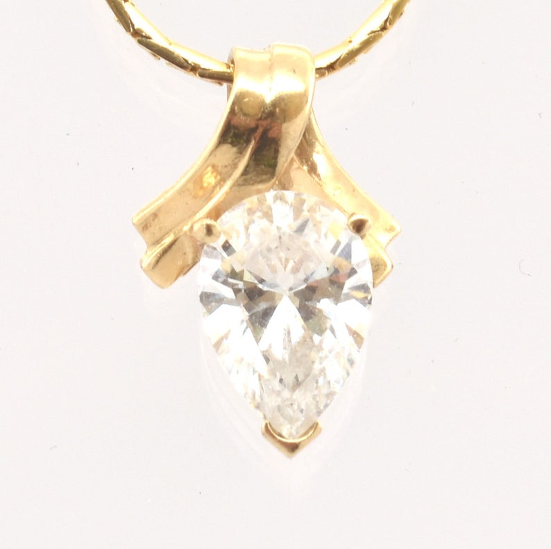 14K Solid Yellow Gold Cubic Zirconia Pendant Vintage Estate Nearly 3 Carats Pear Solitaire Nearly 2 Grams April Birthstone Wedding