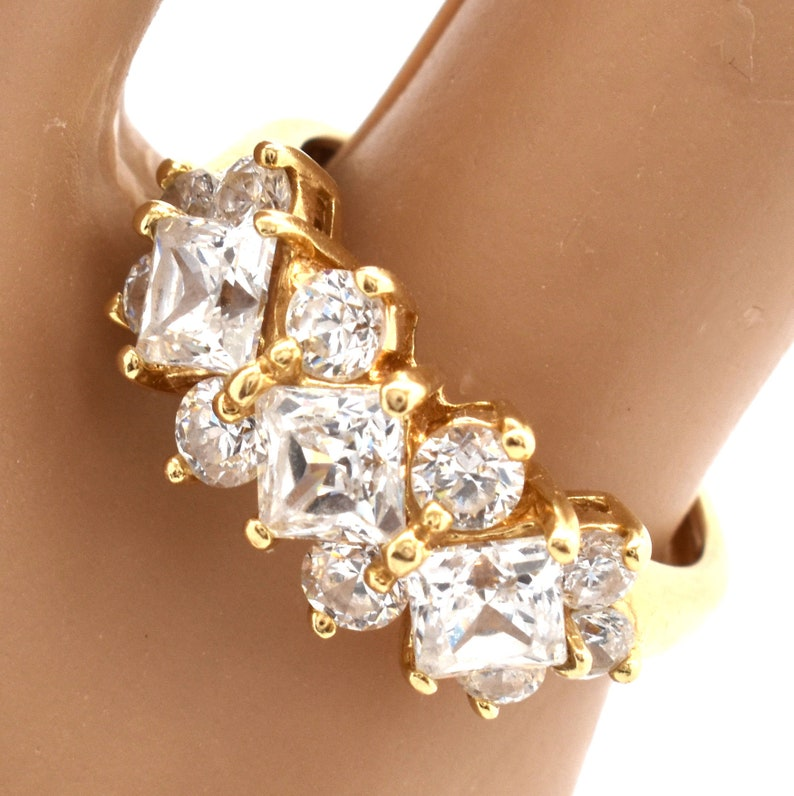 14K Solid Yellow Gold Ring Diamonique Cubic Zirconia Vintage Estate Signed DQCZ Nearly 4 Carats Total Nearly 4 Grams Size 4.5 Wedding