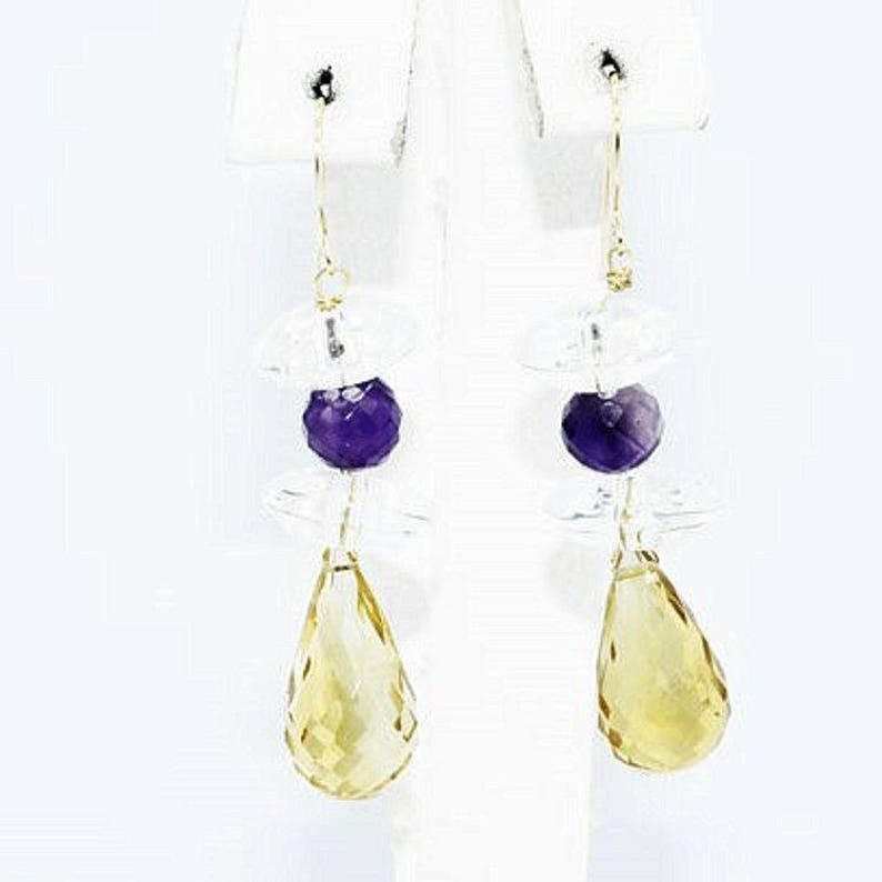 Estate Pair 14K Yellow Gold Citrine Amethyst White Topaz Drop Dangle Earrings 28 Carats Total Weight 5.78 Grams Wedding