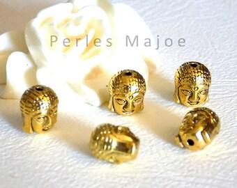 Lot de 10 perles tête de bouddha en métal couleur argent antique 11x9x8 mm