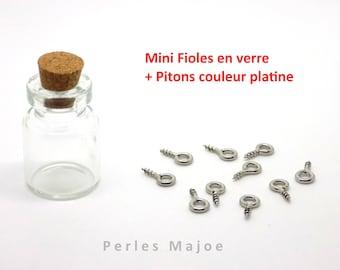 5 x fioles en verre avec bouchons en liège et pitons couleur platine dimensions 22 x 15 mm