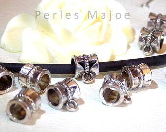 10 x belières décorées couleur argent antique 10x7x7 mm