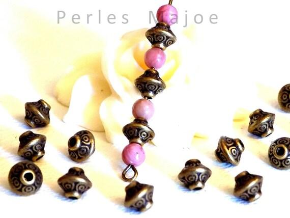 60 x perles daisy intercalaires couleur bronze dimensions 4 X 2 mm