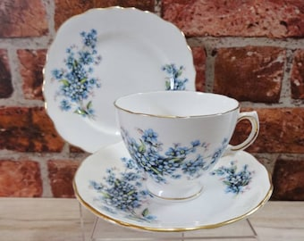 Royal Vale Forget me not Trio Cup and Saucer side plate Bone China