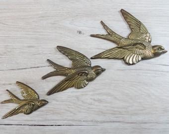 Vintage Metal Three Graduated Flying Birds Swallows Set X 3 Wall Plaques
