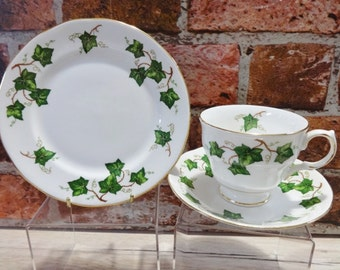 Colclough ivy leaf trio fine bone china Trio Cup Saucer Side Plate Vintage