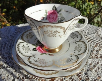 Vintage Imperial China Trio Cup Saucer Side Plate  Pink Roses Floral and 22kt Gold Ornate Decoration