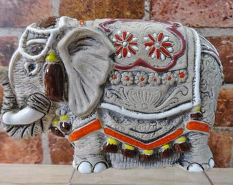 Glazed pottery colourful Elephant ornament