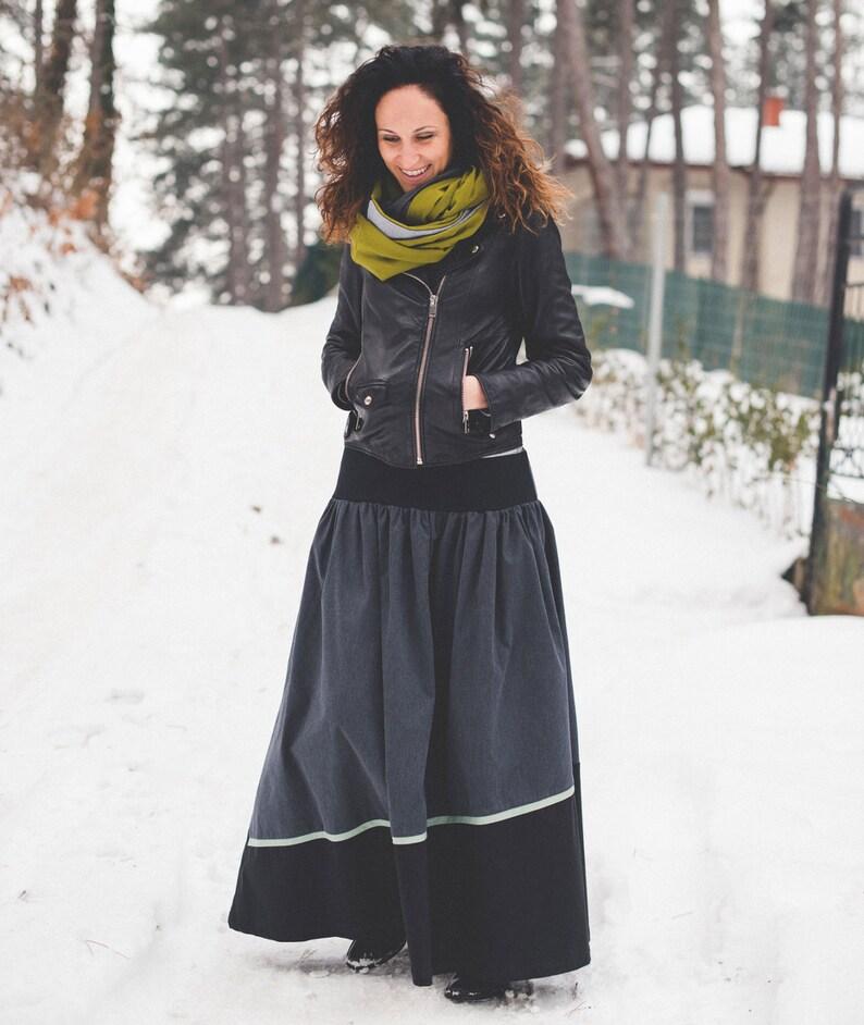 674b9678f46b Winter-Maxi-Rock, langer schwarzer Rock, Tellerrock, asymmetrischer Rock  Grau Kleidung, grauen Rock für Frauen, Street tragen Mode, einzigartige ...