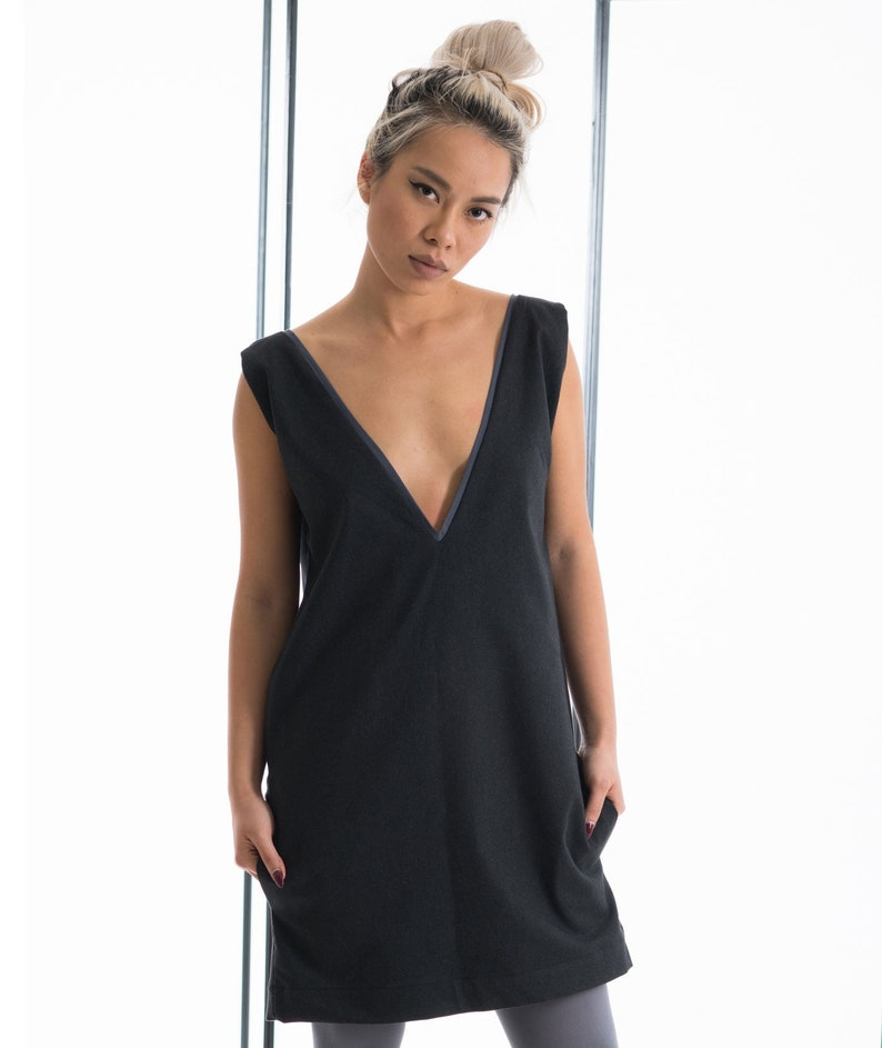 999a303992b3 Tank top dress with pockets Dark gray tank top minimal dress   Etsy