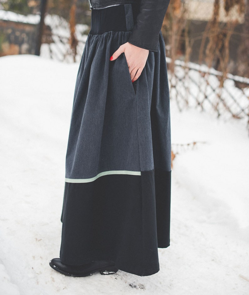 e0e0f9989 Winter maxi skirt Long black skirt Full skirt Asymmetric | Etsy