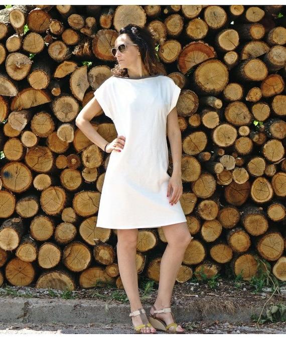 5cc9bf10fab7 White Shift Dress Short Cotton Dress with V Neck Open Back