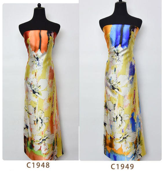 Tissu Satin De Soie Magnifique Belle Main Abstraite Imprime Fleur