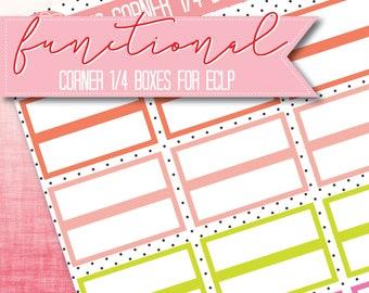 EG-Ecke 1/4 Boxen - 20 Farbkombinationen - funktionale Sticker - Planner Aufkleber Matt