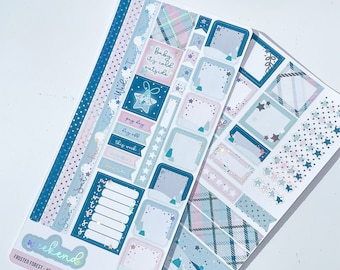 FROSTED FOREST - Hobonichi Weeks Kit - planner stickers - foiled stickers - HOLO foil - Winter Planner Stickers
