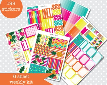 TROPICAL FIESTA Summer Themed Planner stickers Weekly Kit Vertical layout 6 Sheets