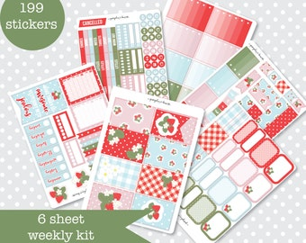 STRAWBERRY FIELDS Pretty Planner stickers Weekly Kit Vertical layout 6 Sheets