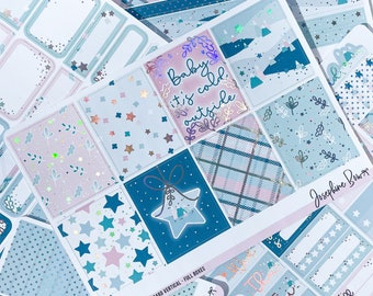 FROSTED FOREST - planner stickers - foiled stickers - Standard Vertical Weekly Kit - HOLO foil - Winter Planner