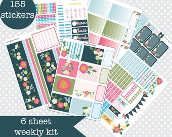 PRETTY PETAL Floral Planner stickers Weekly Kit Vertical layout 6 Sheets