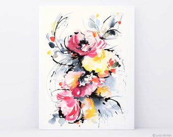 The Strokes Watercolor Flower Art Print Abstract
