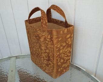 Coffee stained, plastic free grocery bag, canvas tote, market bag
