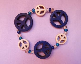 peace bracelet, beaded bracelet, peace sign, glass bead