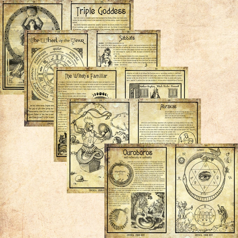 graphic regarding Free Printable Book of Shadows Pages titled 5 Web pages Established Electronic Printable Grimoire Reserve of Shadows Witches Wicca