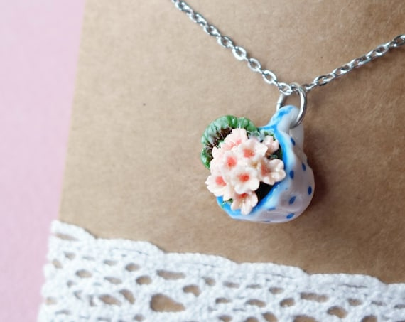 Tea cup geranium necklace, pink geranium necklace, tea cup necklace