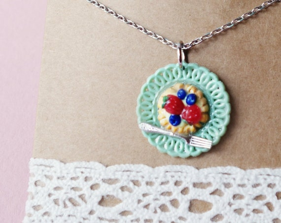 OOAK tartlet necklace, fruit tartlet handmade pendant with chain