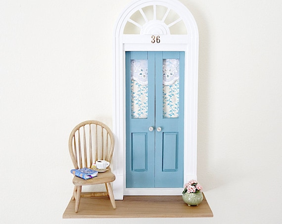 Blue Fairy Door, Blue Fairy Door with flowers, Romantic OOAK Fairy Door, Jane Austen Fairy Door