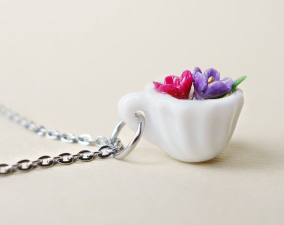 Flower in tea cup necklace, tea cup pendant, cuteness in a tea cup