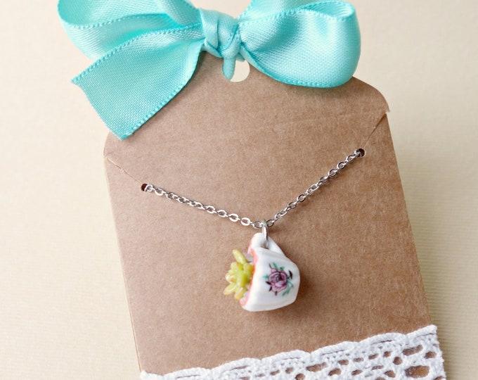 Succulent necklace, succulent plant in teacup necklace