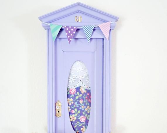 Purple Fairy Door with pennants, Fairy Door pennants, Purple Tooth Fairy Door, Yellow Fairy Dust