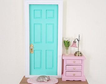 Joyful Mint and Pink Fairy Doorlighted fairy door, OOAK Fairy Door, Fairy doors of Montreal, miniature cat