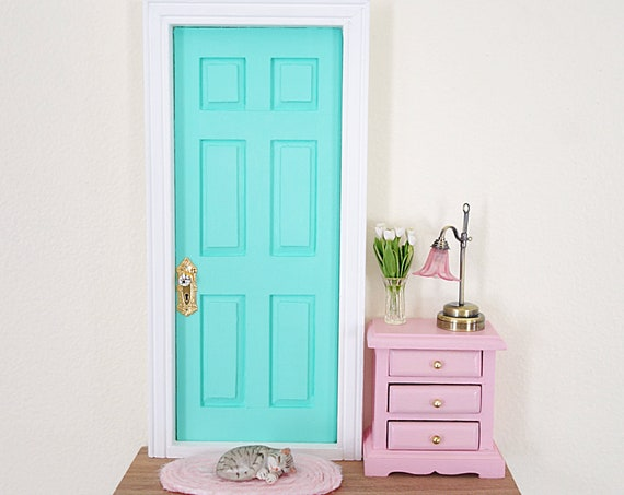 Joyful Mint and Pink Fairy Doorlighted fairy door, OOAK Fairy Door, Fairy doors of Montreal, miniature cat
