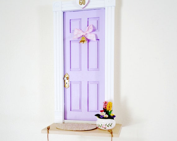 Lilac Fairy Door, Light purple fairy door, OOAK Fairy door with flowers, unique handmade fairy door, fairy doors of Montreal
