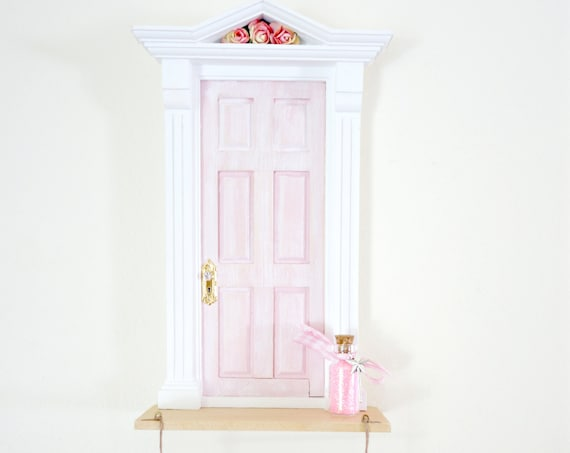 Light Pink fairy door, Fairy door with rope ladder, pink fairy doors, tooth fairy door light pink