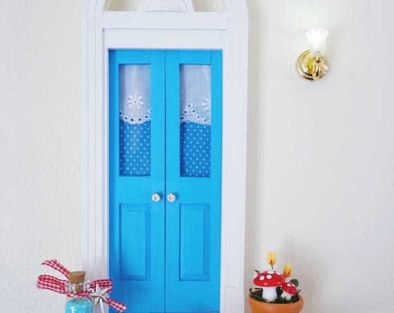 Blue Fairy Door, OOAK Fairy Door, Woodland, Whimsical Fairy Door, Fairy Mushroom