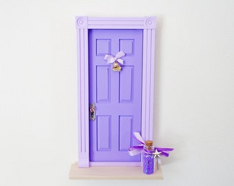 Purple Fairy Door, purple fairy door with bell, OOAK Fairy door, unique handmade fairy door, fairy doors of Montreal