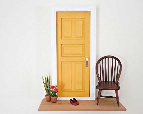 Mustard Fairy Door, OOAK Fairy door, modern Fairy door, grown-up fairy door