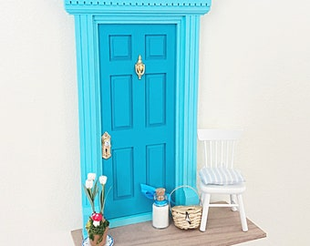 Turquoise Fairy Door, OOAK Fairy Door, Fairy door unique, handmade Fairy Door, Tooth Fairy Door kit, turquoise wall art, diorama