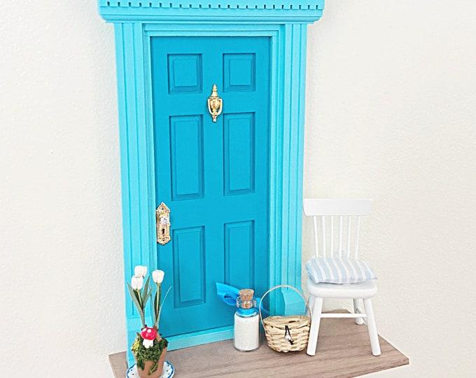 Turquoise Fairy Door, OOAK Fairy Door, Fairy door unique, handmade Fairy Door, Tooth Fairy Door kit, turquoise wall art, diorama