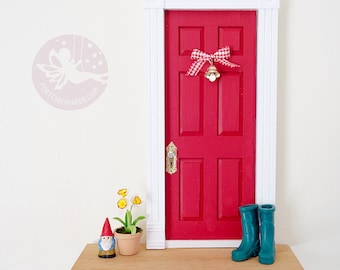 Red Fairy Door with garden gnome, teal boots, daffodils and bell, OOAK Red Fairy Door